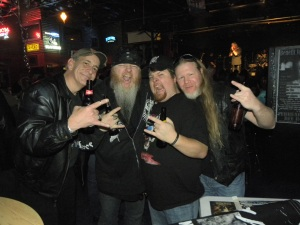 "Wm. Scott Deaver with Rusty and the origins of the ODC, Skot and Rob of Six Past Hell. This is now infamously known as the ""hissing cat"" photo."